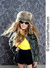children fashion blond girl with fur winter coat and hat -...
