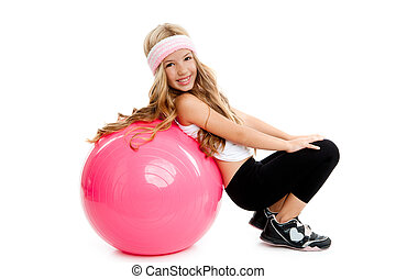 children gym yoga girl with pilates pink ball - children gym...