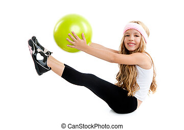Children little gym girl with green yoga ball with pilates...