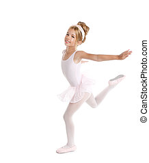 Ballerina little ballet children dancer dancing on white -...