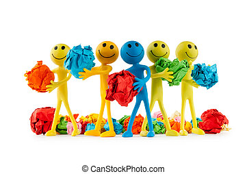 Smilies in recycling concept on white