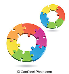 Jigsaw puzzle circles - Vector illustration of jigsaw puzzle...