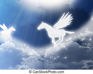 Pegasus - Illustration with two flying pegasus