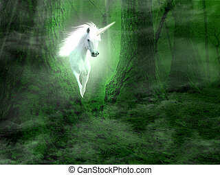 Unicorn - A picture of unicorn appearing from the forest