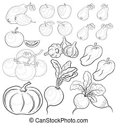 Vegetables and fruits, outline, set - set: various...