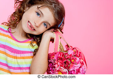 children girl holding fashion spring pink flowers bag - Girl...