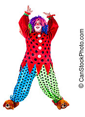 holiday clown - Man dressed as clown red. White background....
