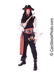 homem, em, mascarada, pirata
