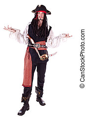 Man In Masquerade pirate - A man dressed as a pirate, pistol...