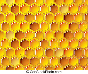 Honeycomb background concept - golden bee honeycomb...