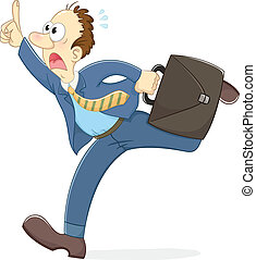 stressed running worker - worker in great hurry running...