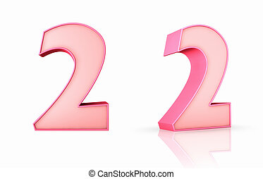 Pink Number Two - 3d pink number two, isolated on white...