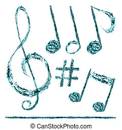 musical notes taken out of the water on a white background