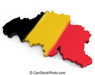 Map of Belgium with flag Kingdom of Belgium