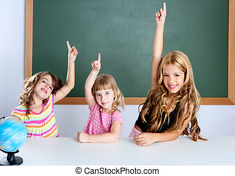 kids student clever girls in classroom raising hand