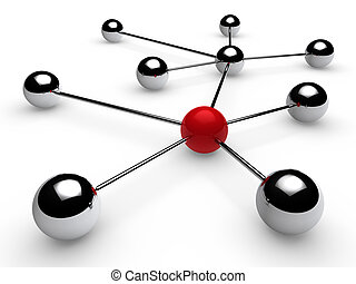 3d chrome red network - 3d, red, chrome, ball, network,...