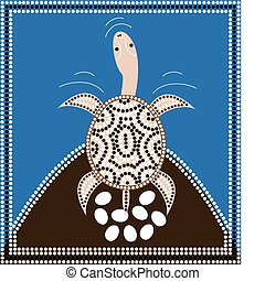 Dreamtime - turtle - Dreamtime - longneck turtle - dot...
