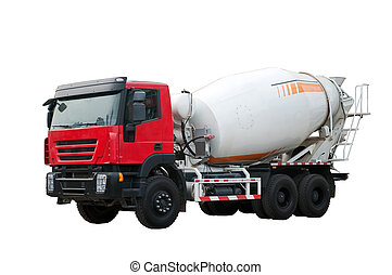 Concrete mixer on the white background