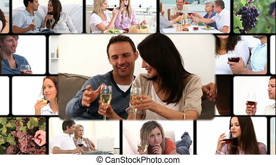 Montage of people enjoying drinking wine