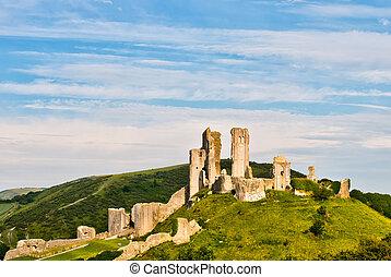 Ruins of Corfe Castle - The ruins of Corfe Castle, Dorset,...