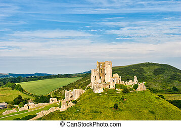 Ruins of Corfe Castle - The ruins of Corfe Castle, Dorset,...