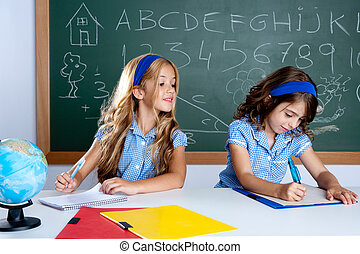classroom with two kids students cheating on test
