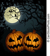 Halloween background with pumpkins, tree, crows and cemetery