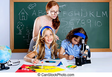 kids students with nerd teacher woman at school