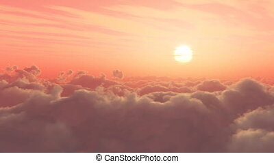 clouds and sun 19 - time lapse of sunrise or sunset, above...