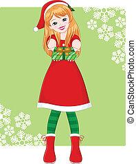 christmas girl - smiling girl in christmas outfit handing...