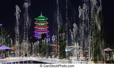 nightgarden 1 - night garden in chinese city, Xian, China,