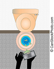 Money down the drain - An illustration of someone flushing...