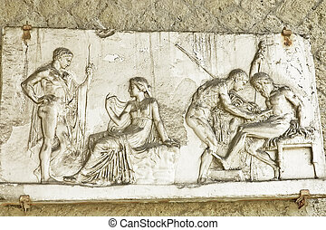 Herculanum fresco of love scenes. - Herculanum fresco...