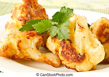 Roasted Cauliflower - fried cauliflower in batter on a plate...