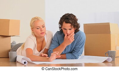 Couple planning how to set up their