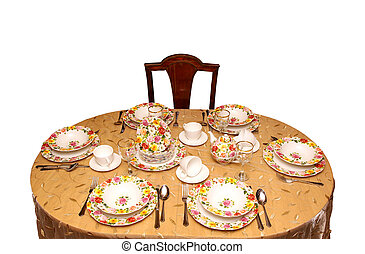 Tea party - Retro table setting with floral patern porcelain