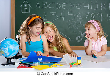 happy laughing kids student girls at school classroom -...