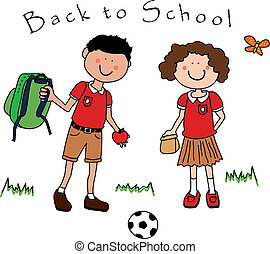 Couple of kids going back to school - Cute couple of cartoon...