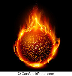 Fire ball Illustration on black background for design