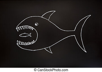 Big fish eats small one - The big fish eats the small one....