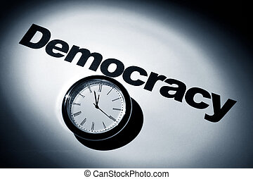 Democracy - Clock and word of Democracy for background