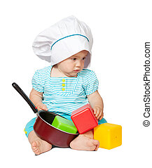 Baby cook in  over white