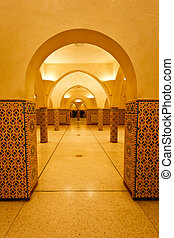 Interior walls and tiled columns of hammam turkish bath
