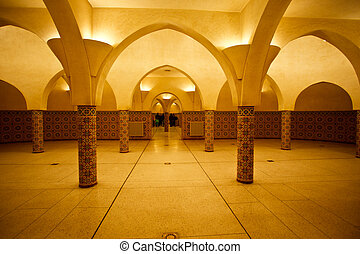 Lighted interior of Hammam Turkish bath - Casablanca,...