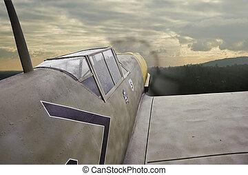 World War Two era German airplane in flight - World War 2...