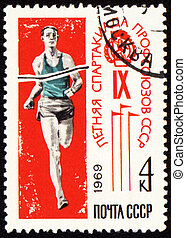 Post stamp shows running sportsman