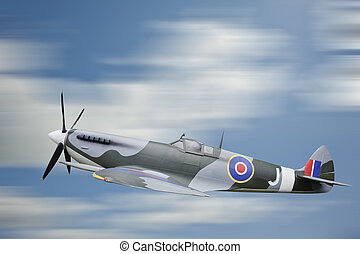 World War 2 era British aircraft Spitfire in flight - World...