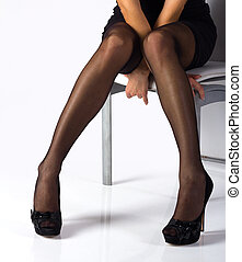 Sexy, piernas, negro, medias