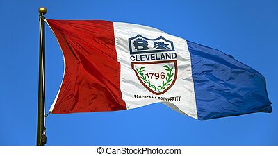 Cleveland flag against blue sky