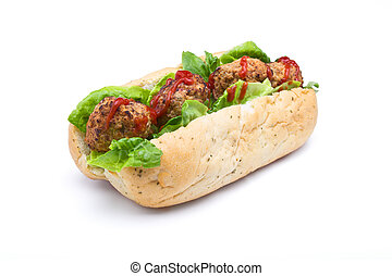 Meatball Sub Sandwich from low perspective isolated on white...